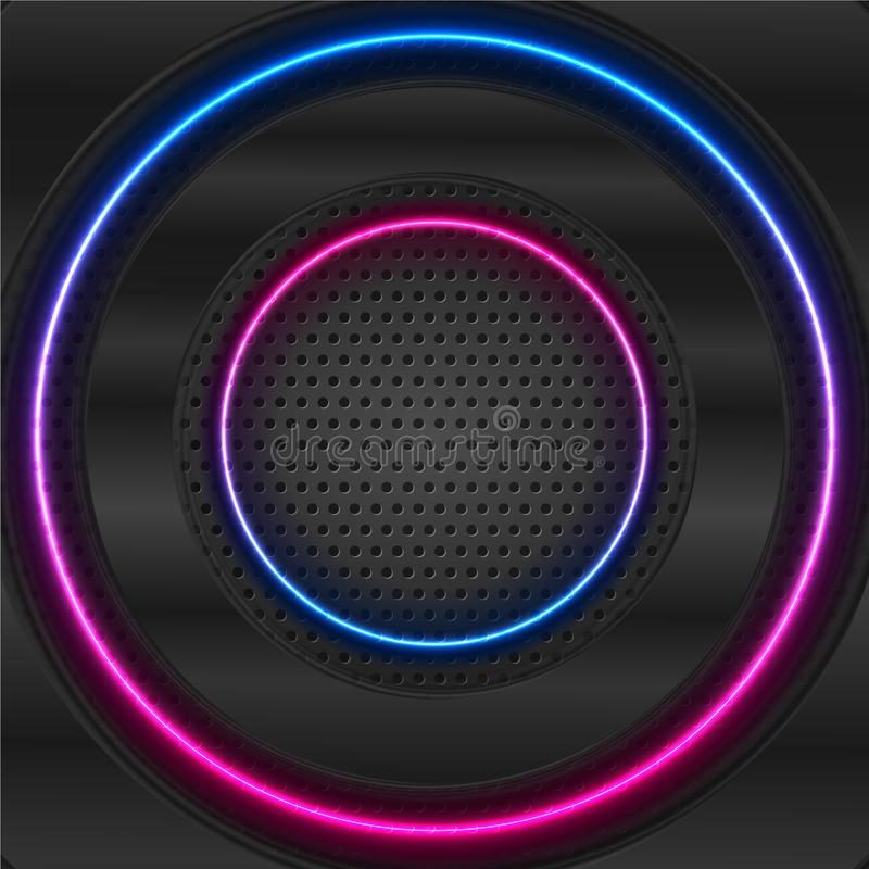 Black glossy and blue purple neon circles on dark perforated background stock illustration