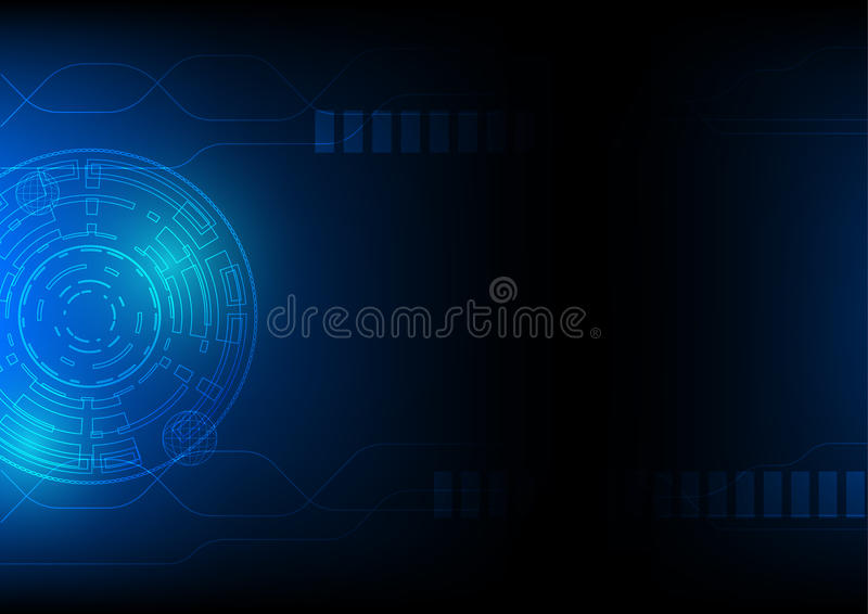 Technology abstract background in blue, hi-tech sci-fi cyberspace theme concept, eps 10 illustrated royalty free illustration