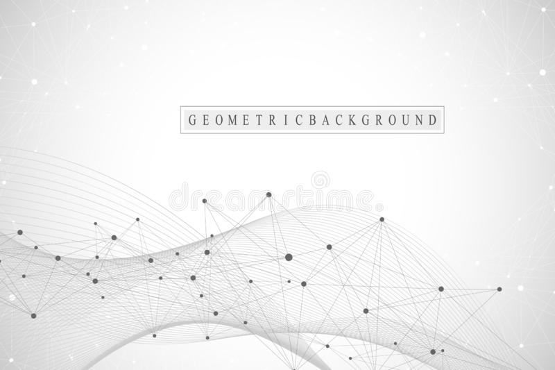 Technology abstract background with connected line and dots. Big data visualization. Artificial Intelligence and Machine vector illustration