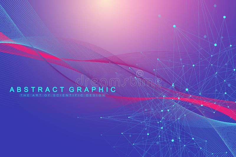 Technology abstract background with connected line and dots. Big data visualization. Perspective backdrop visualization royalty free illustration