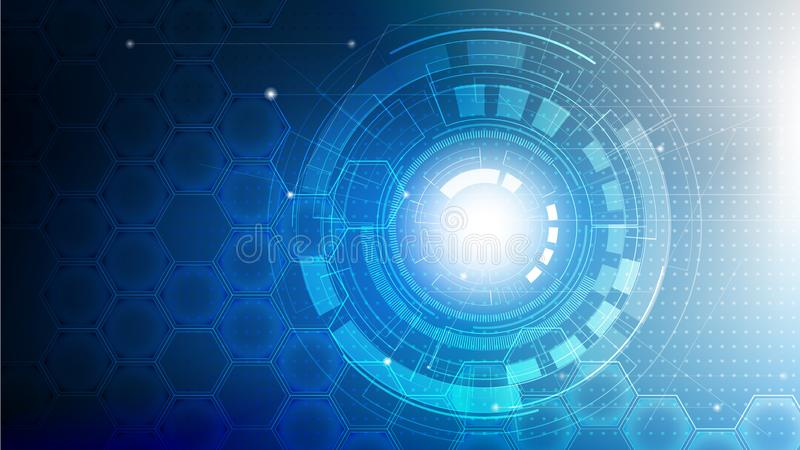 Technology abstract futuristic on blue color with circuit board and hexagons background vector illustration