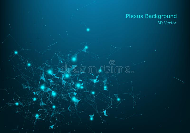 Technology abstract vector background.Data visualization.Sound wave, polygonal space low poly wallpaper with connecting dots and royalty free illustration
