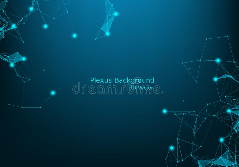 Technology abstract vector background.Data visualization.Sound wave, polygonal space low poly wallpaper with connecting dots and. Lines structure.Futuristic stock illustration