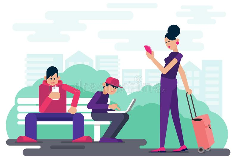 Technology addicted people browsing digital devices while spending time in city park vector illustration. vector illustration