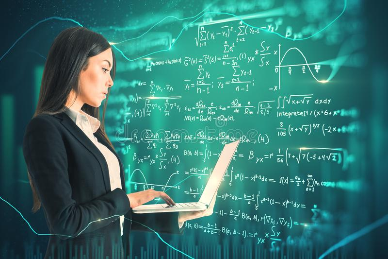 Technology and algorithm concept. Side view of attractive young european businesswoman using laptop on abstract scientific formulas background. Technology and royalty free illustration