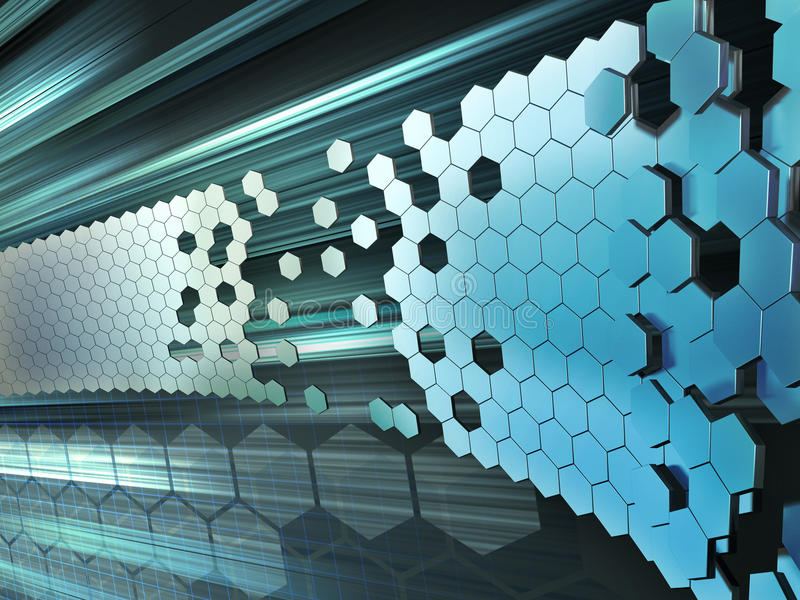 Technology background. Hexagon shapes forming a wall on a high technology background. Digital illustration royalty free illustration