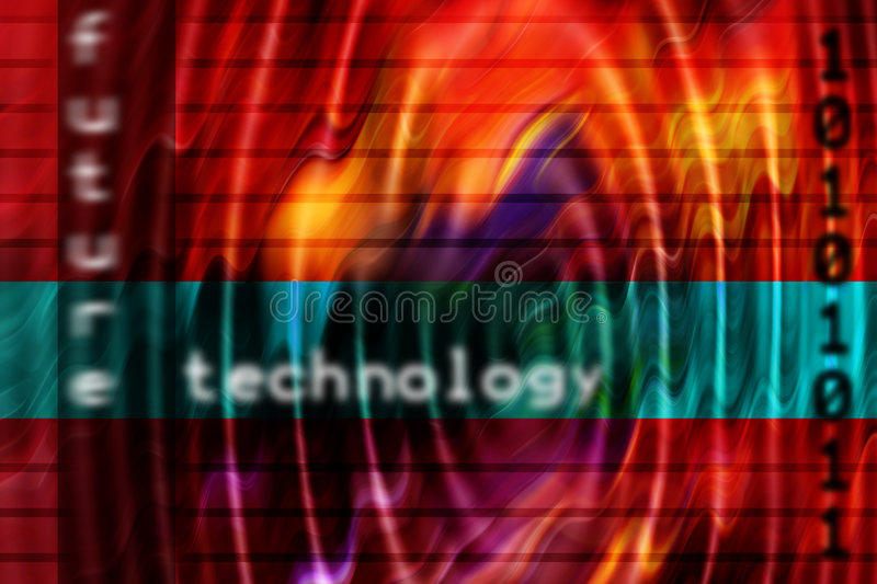 Technology background. Illustration for a technology background concept with text and binary numbers royalty free illustration