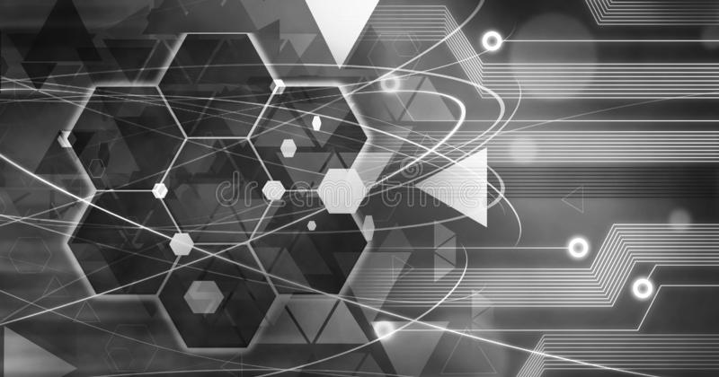 Technology Background, Computer future linien creative circuit black white royalty free illustration