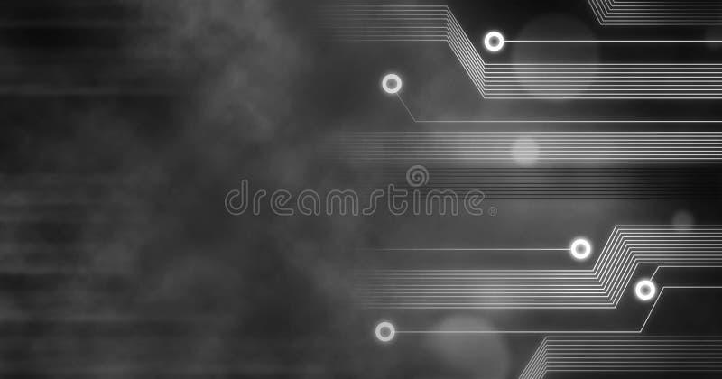 Technology Background, Computer future linien creative circuit concept black white vector illustration