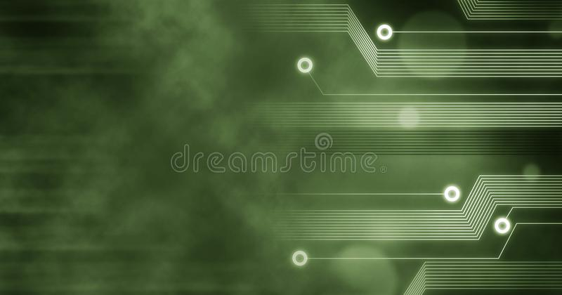 Technology Background, Computer future linien creative circuit concept green stock illustration