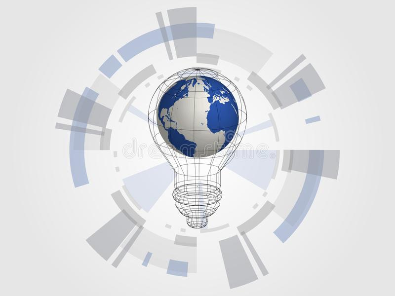 Technology background. 3d world map in bulb represents concept of idea and innovation. Concept of new idea for the future. royalty free illustration