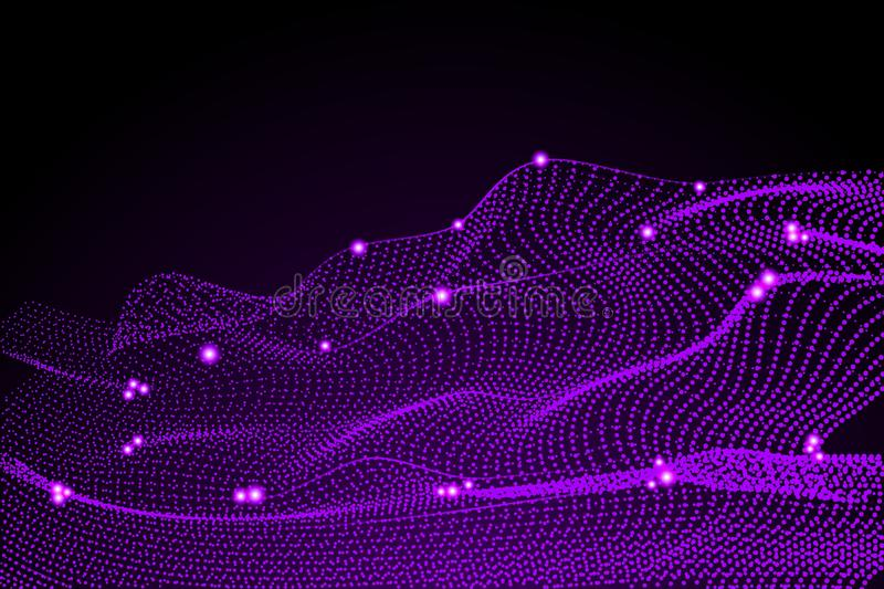 Technology background. Glowing 3d purple grid. Cyber technology high tech wire network futuristic wireframe. Artificial vector illustration