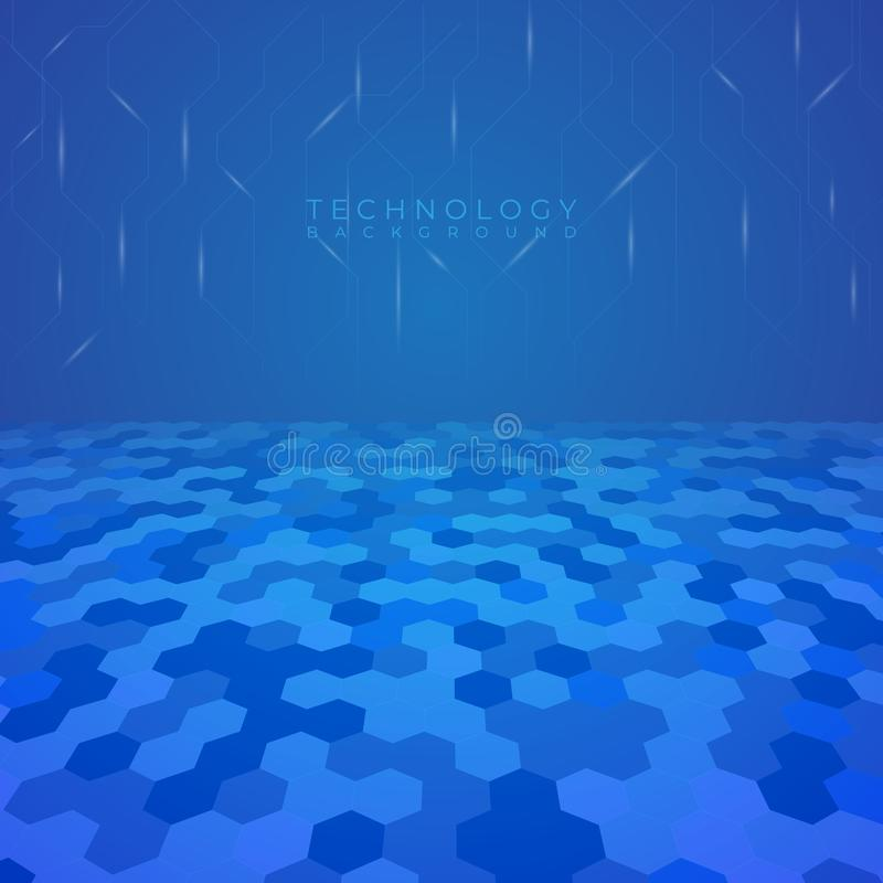 Technology background hexagon perspective modern line and light glow. Vector illustration vector illustration