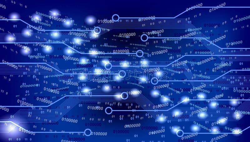 Technology background. Lines and data symbolic of technology on blue background royalty free illustration
