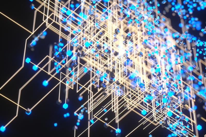 Technology background make up with cubes and lines, 3d rendering. Computer digital drawing, circuit, scientific, connect, hud, rays, network, electronic stock illustration