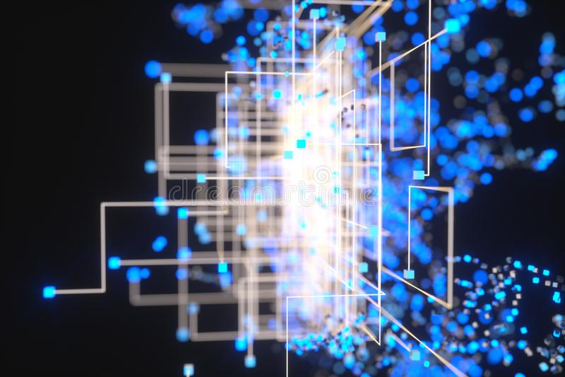 Technology background make up with cubes and lines, 3d rendering. Computer digital drawing, circuit, scientific, connect, hud, rays, network, electronic royalty free illustration