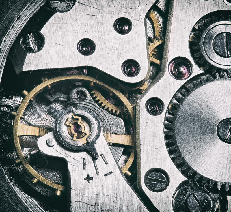 Technology background with metal gears and cogwheels royalty free stock photography