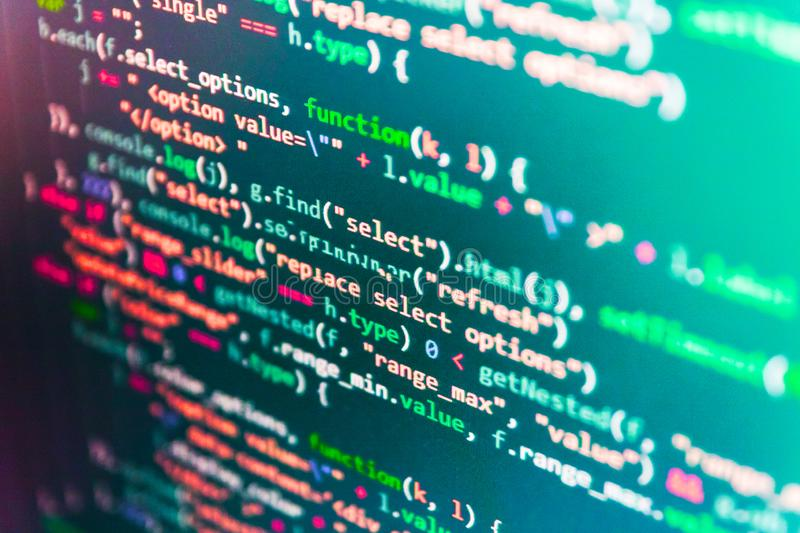 Technology background. Monitor closeup of function source code. WWW software development. stock photos