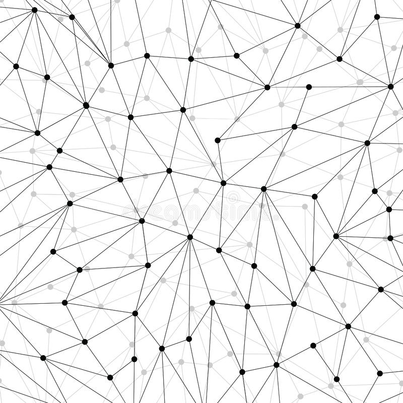 Technology background for web site from black points of connection lines on white background. Abstract information volumetric. Background. IT-development stock illustration