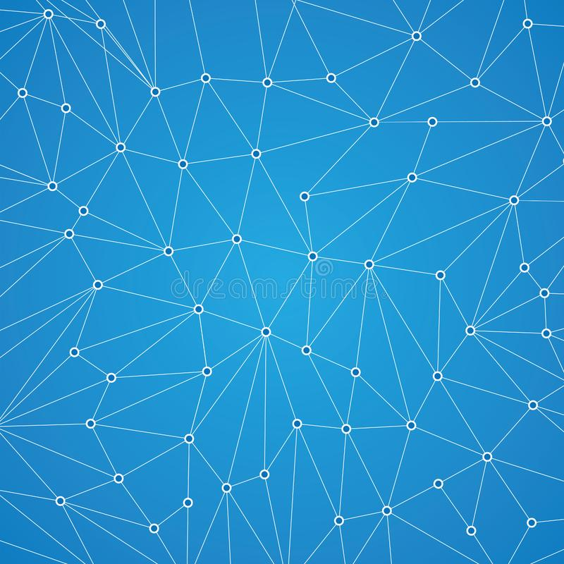 Technology background for web site from white points and circles. Of connection lines on blue background. Abstract information background. IT-development stock illustration