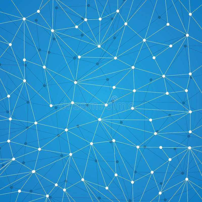 Technology background for web site from white points of connection lines on blue background. Abstract information volumetric back. Ground. IT-development royalty free illustration