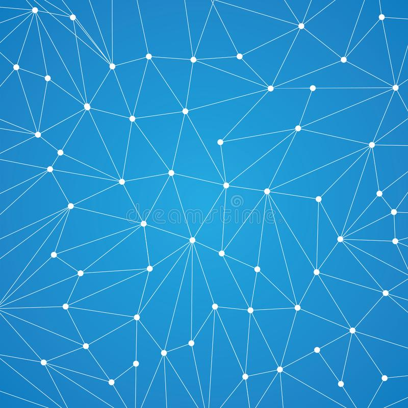 Technology background for web site from white points of connection lines on blue background. Abstract information background. IT-development conception. Neural stock illustration