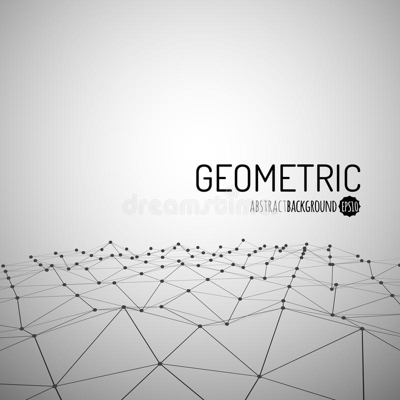 Technology background. Wireframe polygonal landscape. Mountains with connected lines and dots. Vector illustration stock illustration