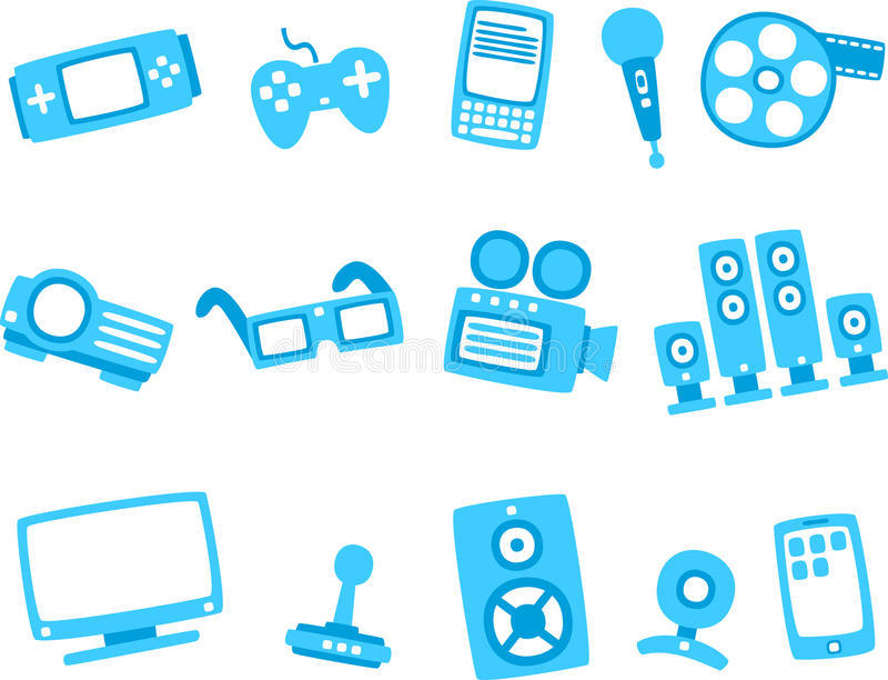 Technology blue icon series 2. Vector illustration of technology blue icon series 2 - Separate layers for easy editing royalty free illustration