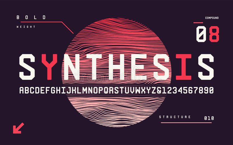 Technology bold san serif uppercase letters and numbers, alphabe vector illustration