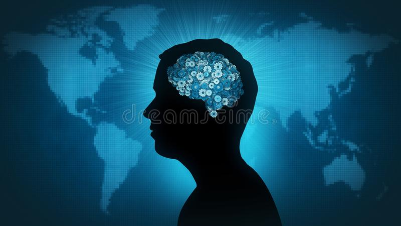Technology brain - man of the world. Man profile silhouette with gearwheel brain in front of Earth map vector illustration
