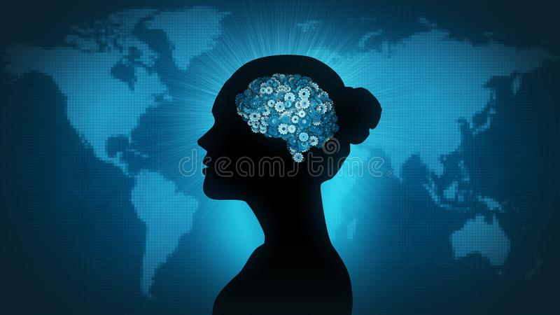 Download Technology Brain - Woman Of The World Stock Illustration - Illustration of inspiration, computer: 114351071