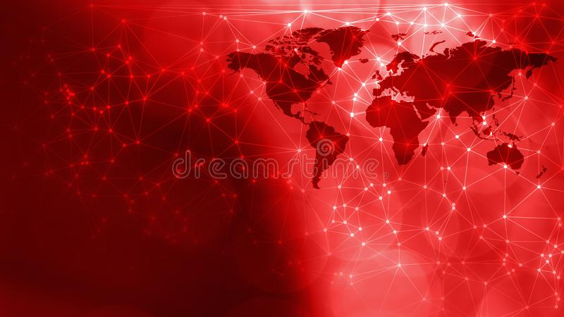 Technology breaking news concept geometric abstract background with world map. Connected dots with lines and graphic world map, creative abstract background royalty free stock images