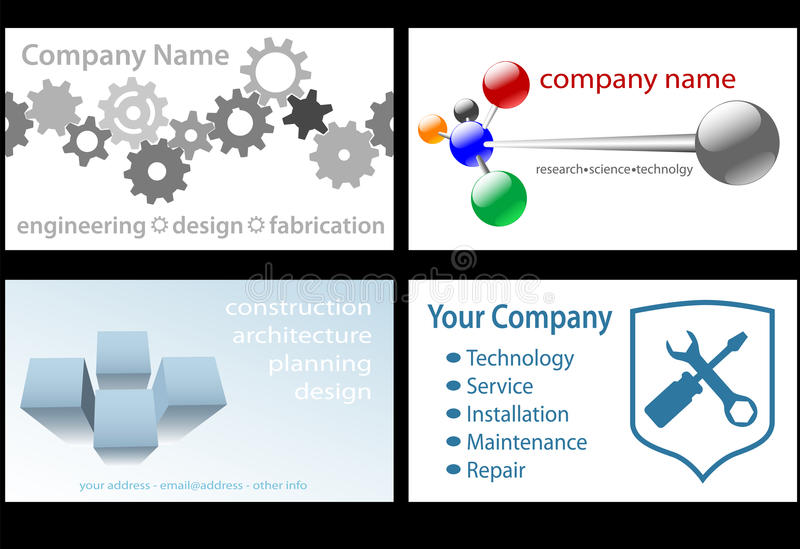 Technology business card designs 4 up stock vector illustration of four technology business designs in standard business card format for design engineering research tech companies ready to print on white colourmoves