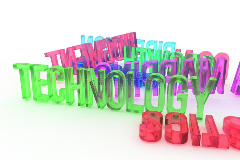 Technology, business conceptual colorful 3D rendered words. Background, message, web & graphic. vector illustration