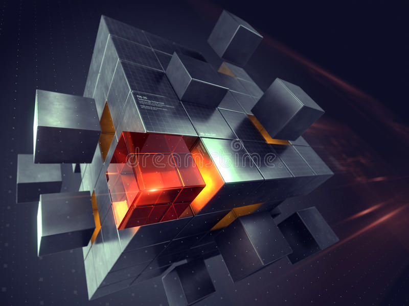 Technology business internet and communication concept. Cube assembling from blocks royalty free illustration
