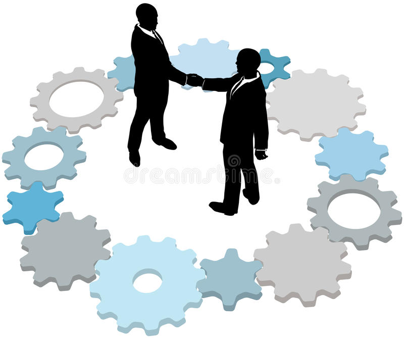 Technology business people deal gears. Business form partnership or do a deal inside ring of technology gears royalty free illustration