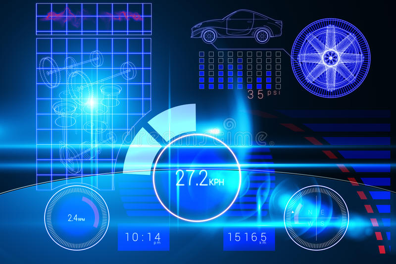 Technology car interface. In blue with light stock illustration