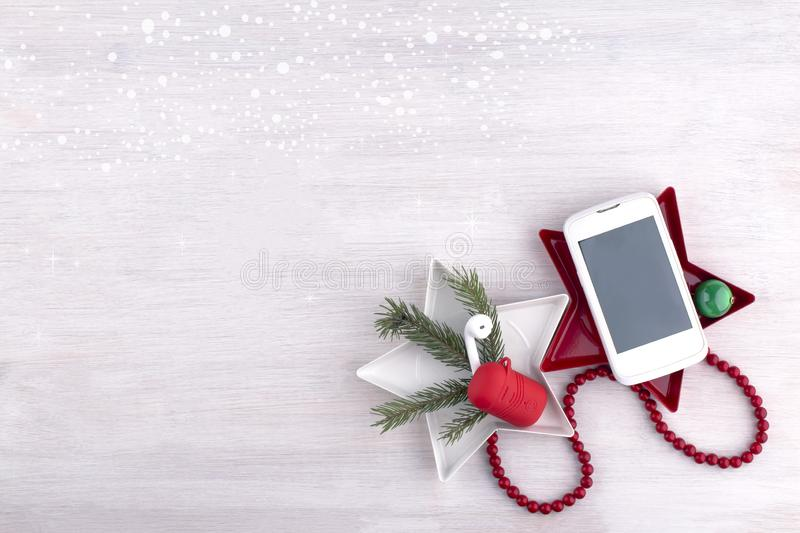 Technology christmas background. Creative christmas composition with gadgets. royalty free stock images