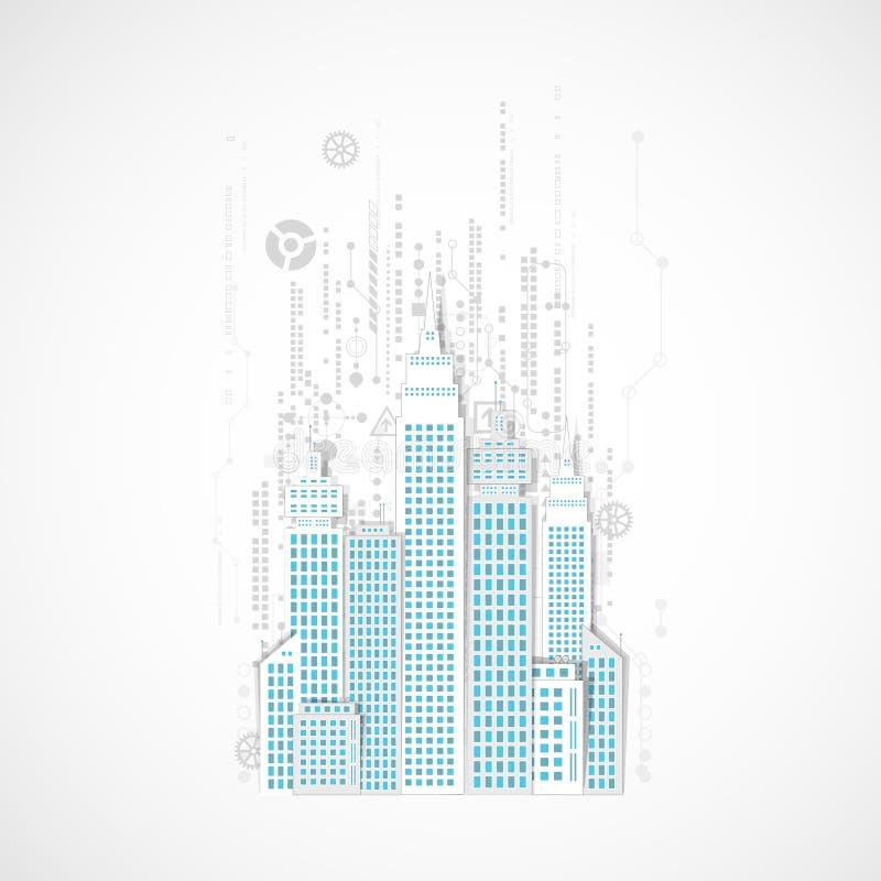 Technology city background. Vector illustration royalty free illustration