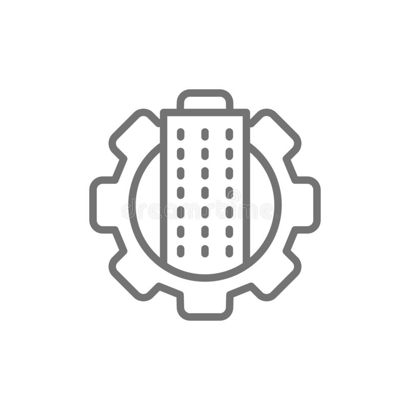 Technology city, building with gear wheel, town engineering department line icon royalty free illustration