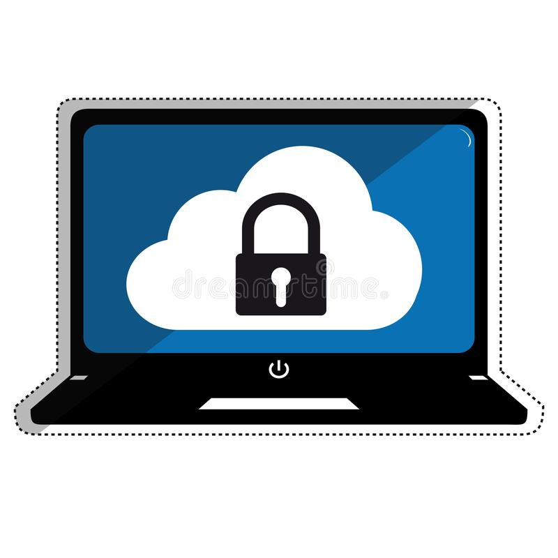 Technology Cloud Security Systems - Editable Outline Computer Vector Illustration. Isolated On White Background vector illustration