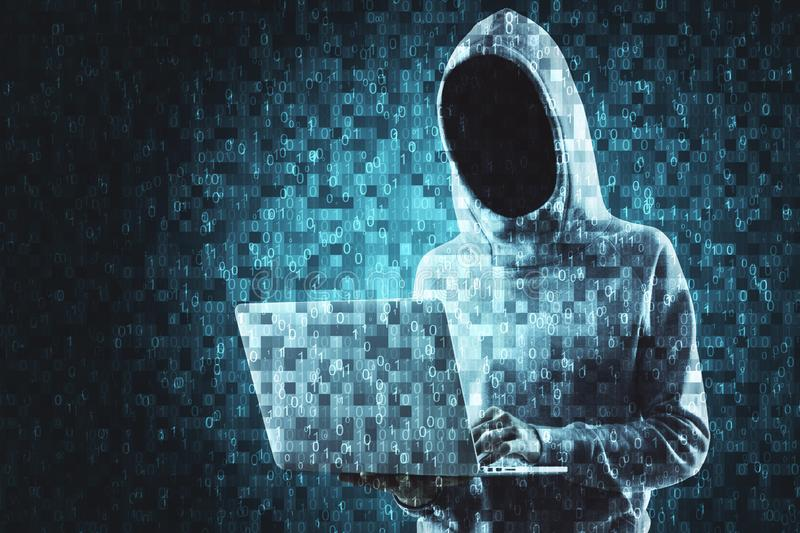 Technology and coding concept. Abstract pixel hacker with laptop on blurry background. Technology and coding concept. Multiexposure stock image