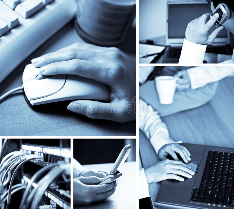 Technology collage. A collage of technology related images showing people working with computers in blue tone stock images