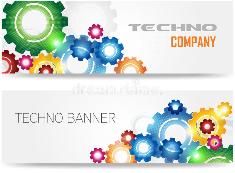 Technology Colorful Gears Banner royalty free illustration
