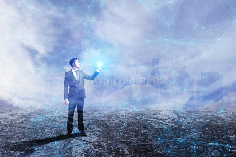 Technology and communication concept. Businessman with polygonal mesh on city background. Technology and communication concept. Double exposure stock image