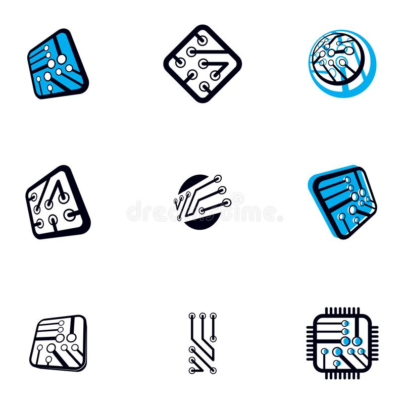 Technology communication cybernetic elements collection. Vector abstract circuit board. Set of electronic microprocessor logos royalty free illustration