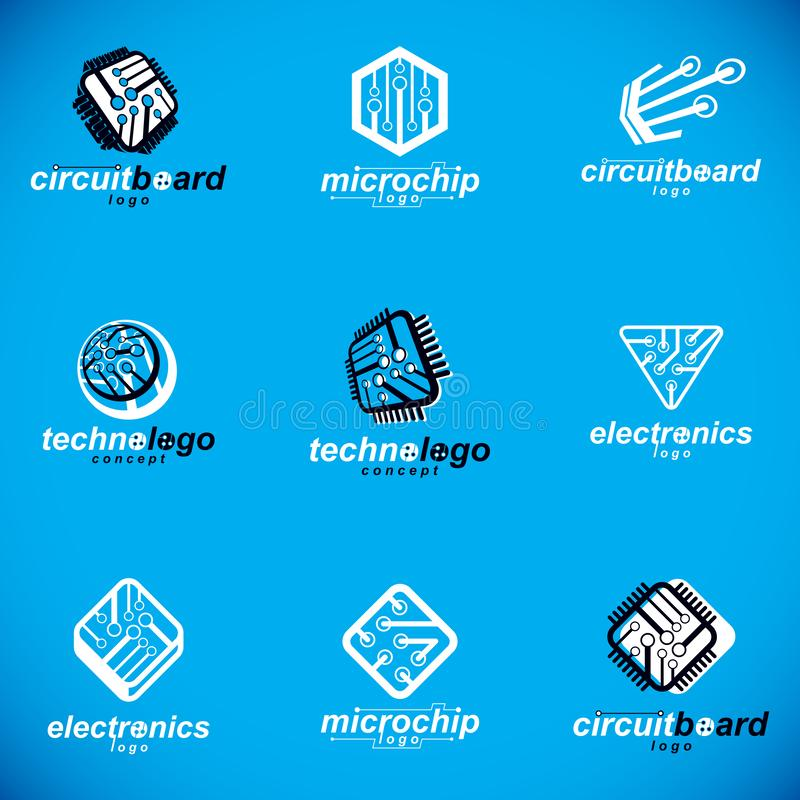 Technology communication cybernetic elements collection. Vector abstract circuit board. Set of electronic microprocessor logos vector illustration