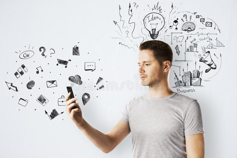 Technology, communication and plan concept stock photos