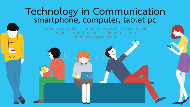 Technology communication. Young people, man and woman, using technology gadget, smartphone, mobile phone, tablet pc, laptop computer in communication concept stock illustration