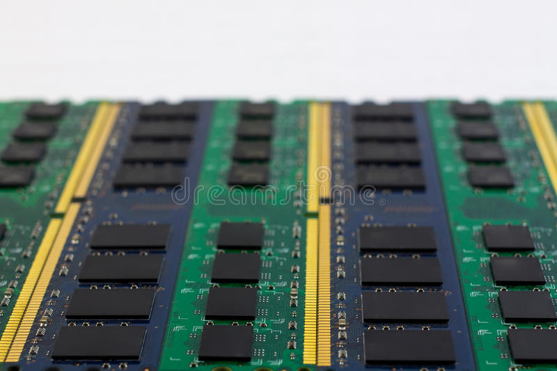 Technology computer component RAM background with copyspace and. Technology computer component RAM background with copyspace for text and selective focus stock images